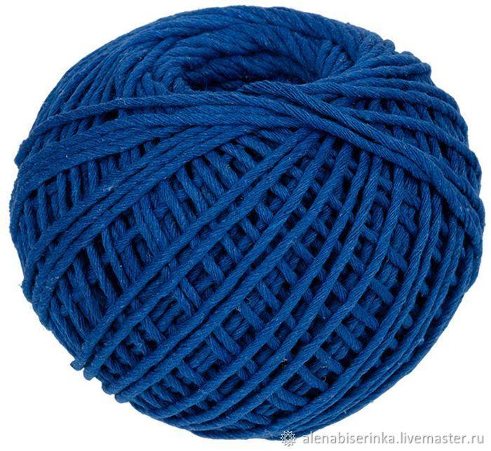 Синий шпагат хлопковый для рукоделия (вязания, макраме) и декора цвет, Пряжа, Екатеринбург,  Фото №1