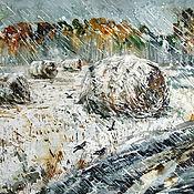 Картины и панно handmade. Livemaster - original item Watercolor painting October Prickly snow (Autumn landscape). Handmade.