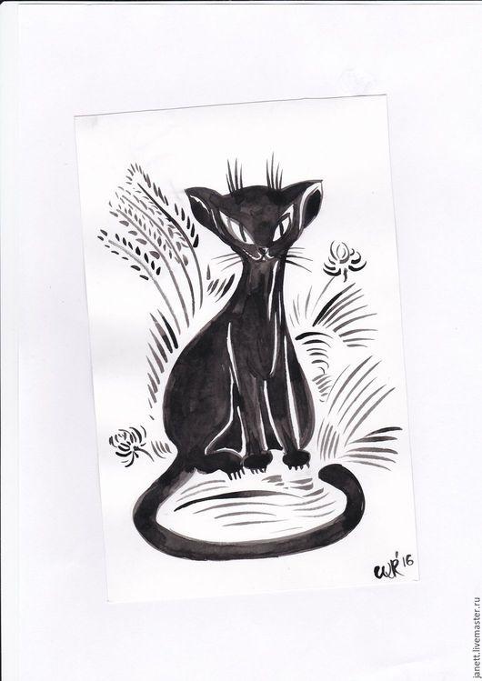 Животные ручной работы. Ярмарка Мастеров - ручная работа. Купить Кот. Handmade. Кот, экзот, миниатюра, тушь, тушь, ватман
