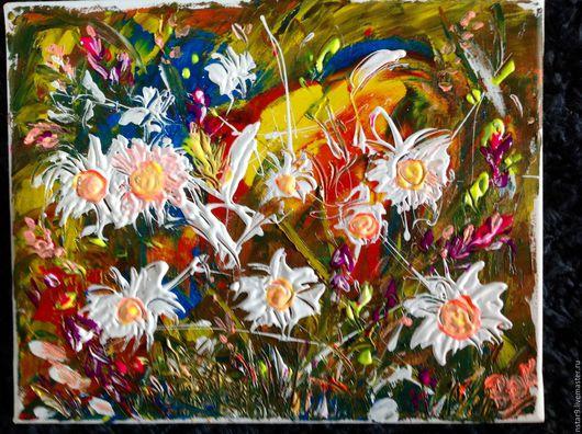 Картины цветов ручной работы. Ярмарка Мастеров - ручная работа. Купить Цветы на счастье.. Handmade. Коралловый, недорогая картина