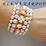 Украшения handmade. Livemaster - original item Bracelet Clover. natural pearls. Handmade.