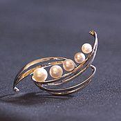 Винтажная серебряная брошь Mikimoto