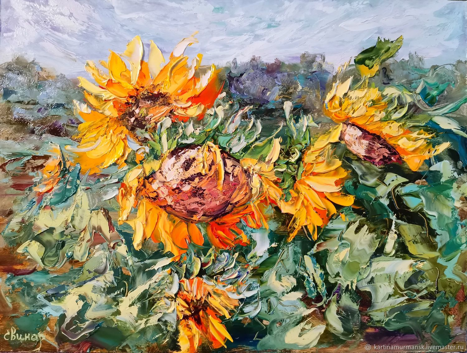 Oil painting with sunflowers ' Sunny mood', Pictures, Murmansk,  Фото №1