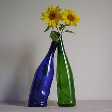 """Посуда ручной работы. Ярмарка Мастеров - ручная работа Плавленные бутылки """"Сплетение чувств"""". Handmade."""