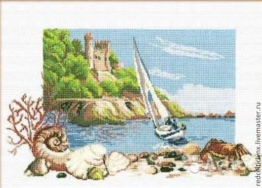 """Пейзаж ручной работы. Ярмарка Мастеров - ручная работа. Купить """"Морской пейзаж"""", 2 вышивки. Handmade. Вышивка крестом, море"""