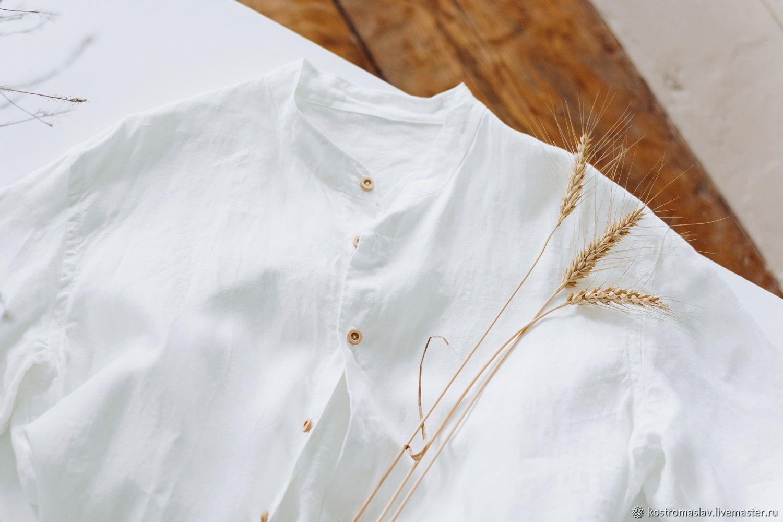 Мужская рубашка льняная, белый, Рубашки, Кострома,  Фото №1
