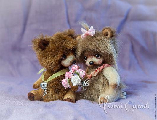 Мишки Тедди ручной работы. Ярмарка Мастеров - ручная работа. Купить Пара влюбленных мишек. Handmade. Комбинированный, мишки
