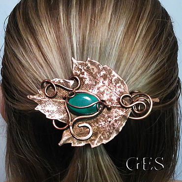 Decorations handmade. Livemaster - original item Barrette with malachite and electroplating)
