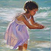 Картины и панно ручной работы. Ярмарка Мастеров - ручная работа Девочка и море. Handmade.