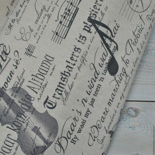 Лен небеленый Ретро Музыка 50х50см, 2691