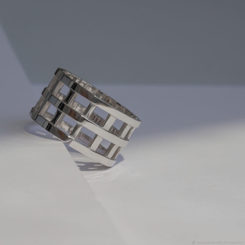 Кольцо Клетка серебро, Кольца, Москва,  Фото №1