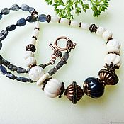 Украшения handmade. Livemaster - original item Beads in Oriental style of carved bone with sapphire Taj. Handmade.
