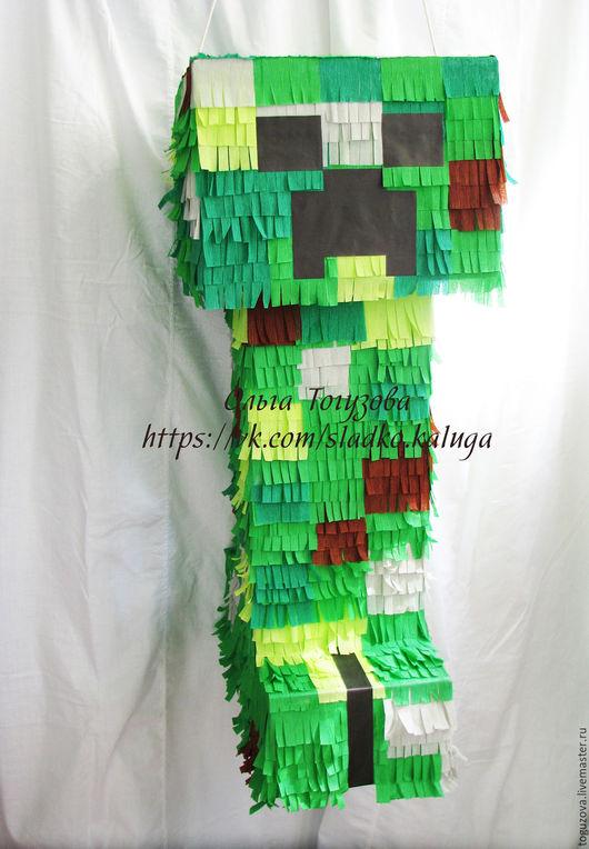 Персональные подарки ручной работы. Ярмарка Мастеров - ручная работа. Купить Пиньята Minecraft. Handmade. Зеленый, подарок