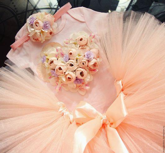 Одежда для девочек, ручной работы. Ярмарка Мастеров - ручная работа. Купить Цветочное сердце - комплект юбка, повязка, боди. Handmade.