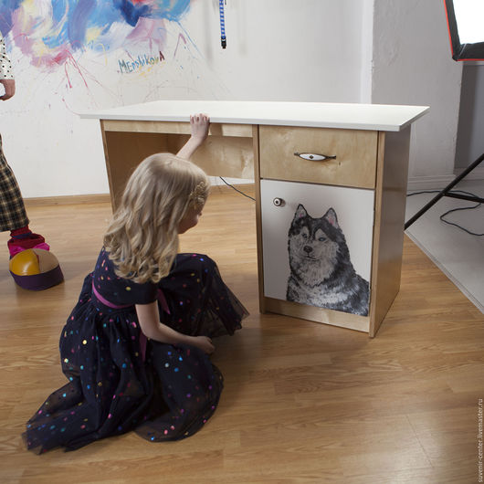 Мебель ручной работы. Ярмарка Мастеров - ручная работа. Купить Стол письменный с росписью из дерева. Handmade. Белый, стол из дерева