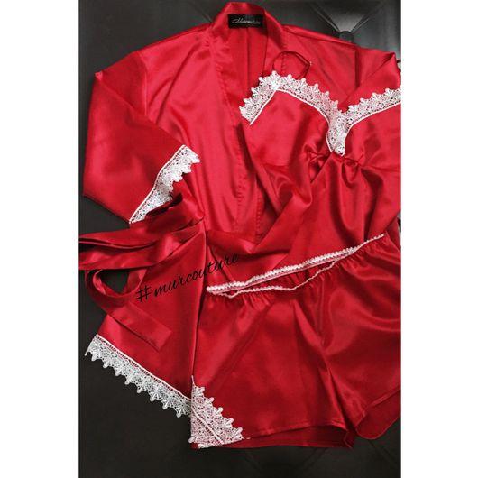 Халаты ручной работы. Ярмарка Мастеров - ручная работа. Купить Шёлковый Халат и комплект для сна от #murcouture. Handmade. Халат, сон