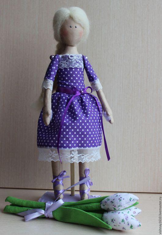 Коллекционные куклы ручной работы. Ярмарка Мастеров - ручная работа. Купить Куколка  в платье в горошек. Handmade. Сиреневый