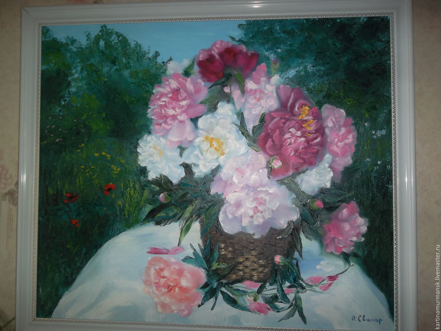 Oil painting flowers landscape 'Peonies in the country', Pictures, Murmansk,  Фото №1