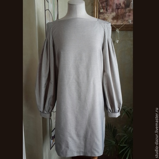 Блузки ручной работы. Ярмарка Мастеров - ручная работа. Купить Платье из итальянского хлопка. Handmade. Голубой, Платье нарядное