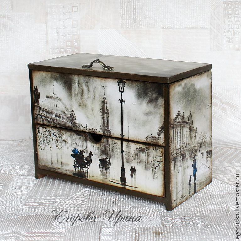 Mini chest of drawers,jewelry box,double copernica'the Romance of rain', Mini Dressers, Moscow,  Фото №1