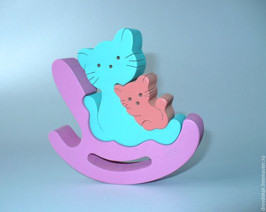 Развивающие игрушки ручной работы. Ярмарка Мастеров - ручная работа. Купить Пазл-сувенир качалка кошки. Handmade. Комбинированный, Пазл