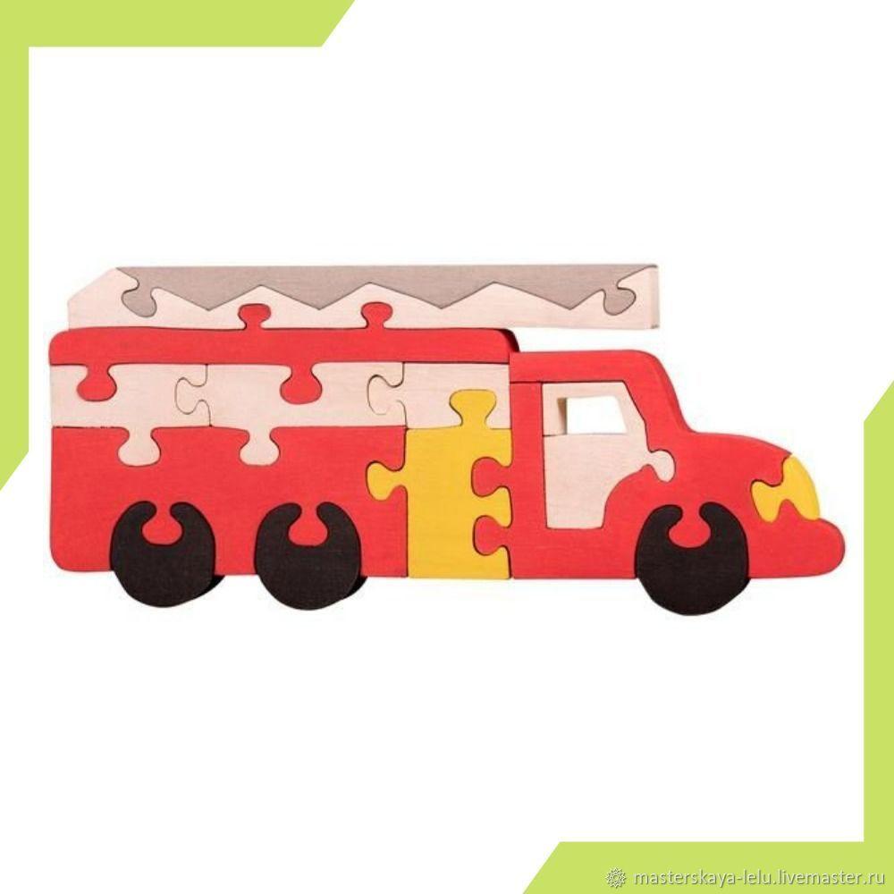 Пазл деревянный Пожарная машина, Развивающие игрушки, Петрозаводск, Фото №1