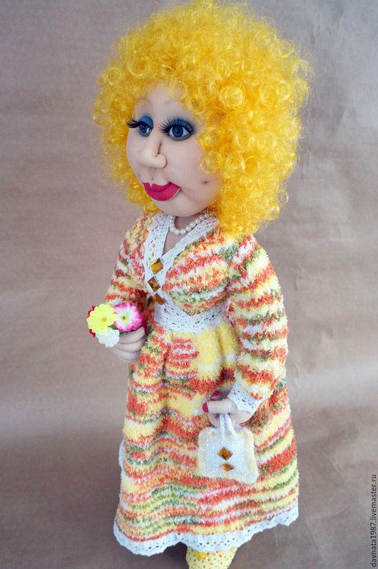 Коллекционные куклы ручной работы. Ярмарка Мастеров - ручная работа. Купить Чулочная кукла Дарья. Handmade. Желтый, каркасная игрушка