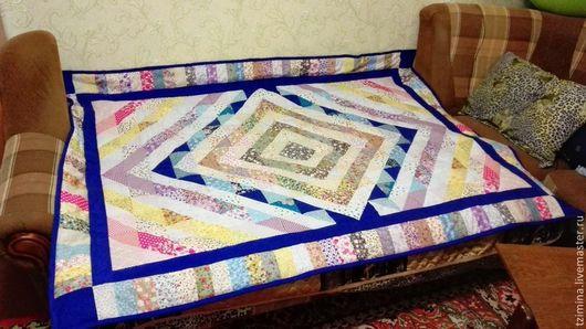 Текстиль, ковры ручной работы. Ярмарка Мастеров - ручная работа. Купить Лоскутное одеяло № 2. Handmade. Голубой