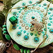 Для дома и интерьера handmade. Livemaster - original item Stand for jewelry / under the mug. Dot painting. Mint mandala. Handmade.