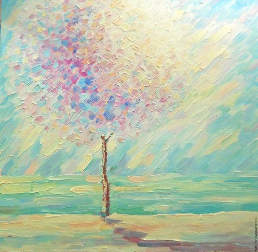 Пейзаж ручной работы. Ярмарка Мастеров - ручная работа. Купить Картина. Дерево. Солнечный берег.. Handmade. Мятный, картина маслом