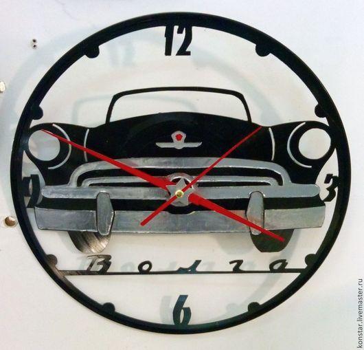 """Часы для дома ручной работы. Ярмарка Мастеров - ручная работа. Купить Настенные часы из пластинки """"Волга"""". Handmade. Черный, волга"""