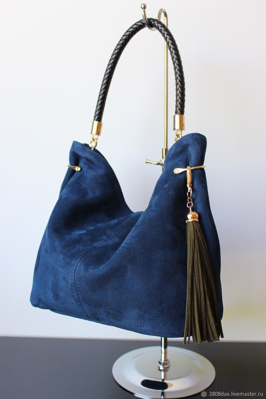 Granville Blue Suede Handbag With Tassel Hobo Bag