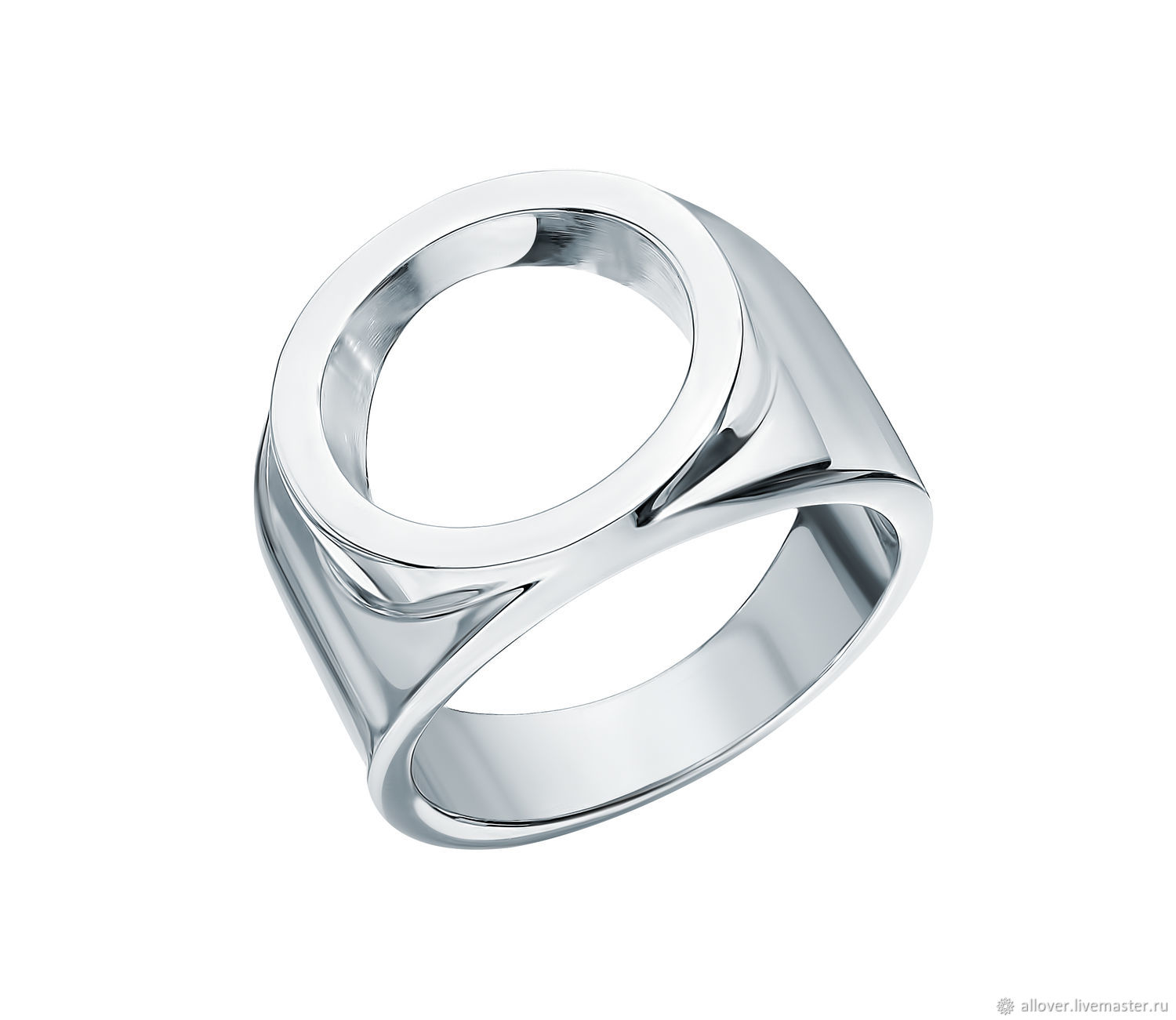 Ring: Ring large figured with a circle 925 silver minimalism, Rings, Moscow,  Фото №1