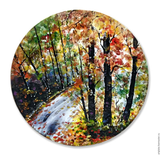 Керамическая тарелка `Осень`. Керамика ручной работы. Ярмарка мастеров.