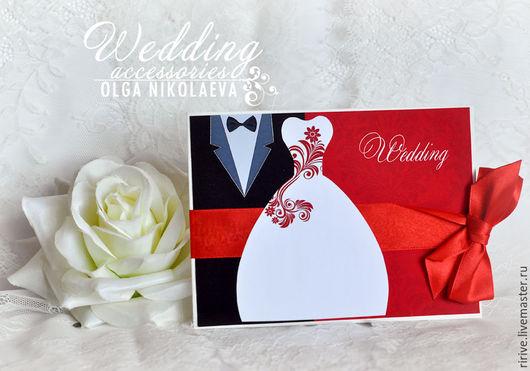 Свадебные аксессуары ручной работы. Ярмарка Мастеров - ручная работа. Купить Приглашение на свадьбу жених и невеста красное. Handmade.