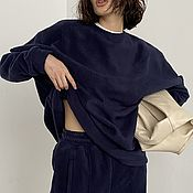 Одежда handmade. Livemaster - original item A loose-fitting sweatshirt with slits at the elbows in a dark blue shade. Handmade.