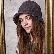 Аксессуары handmade. Livemaster - original item Hat knitted bitter chocolate. Handmade.
