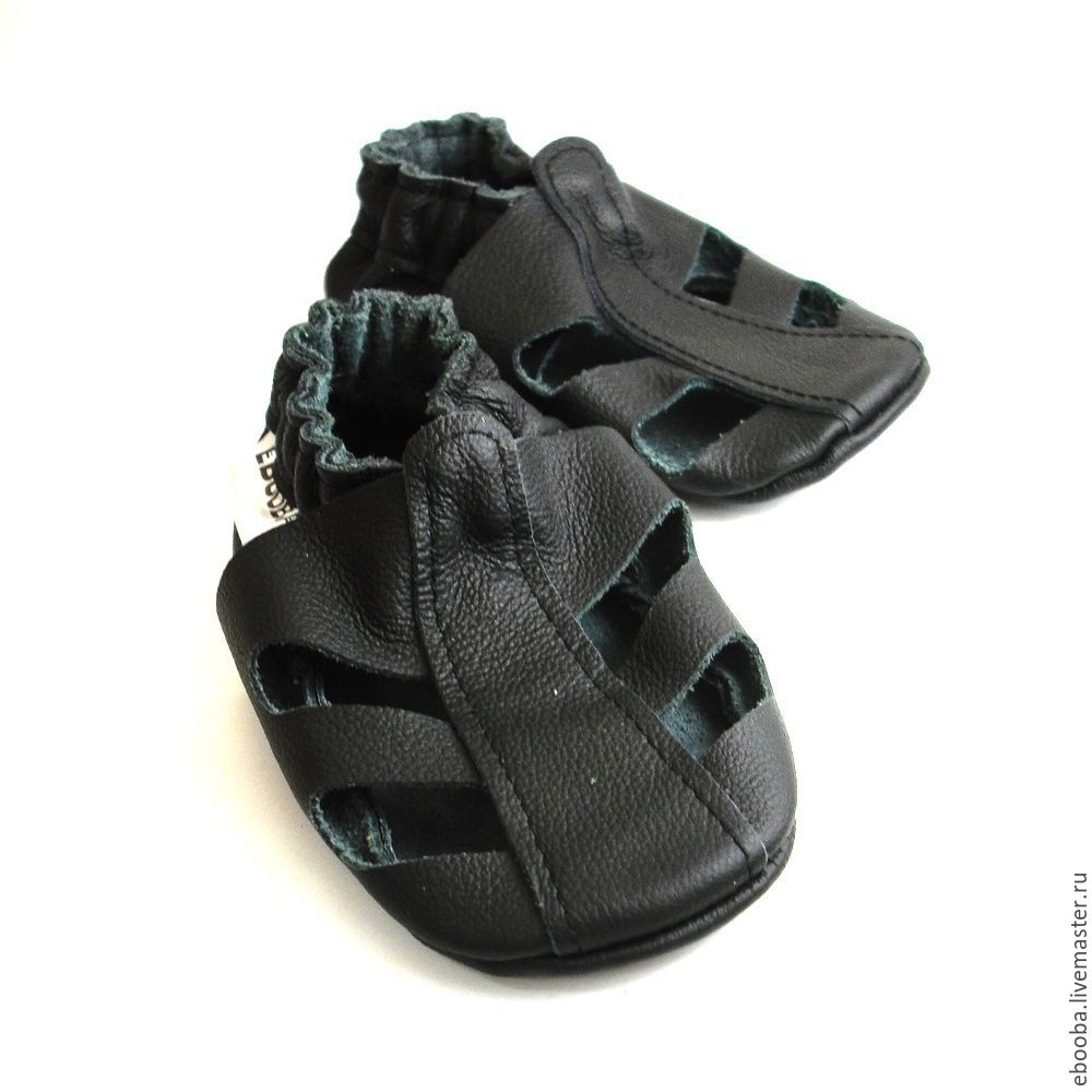 e40b515728f2b Black baby sandals soft soled / Genuine leather baby booties – shop online  on Livemaster with shipping - 4BITHCOM | Kharkiv