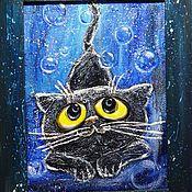 """Картины и панно ручной работы. Ярмарка Мастеров - ручная работа Рельефное панно """"Черной ночью черный кот"""". Handmade."""