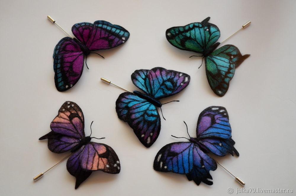 Броши ручной работы. Ярмарка Мастеров - ручная работа. Купить Брошь бабочка. Handmade. Валяние, валяная брошь, брошь бабочка
