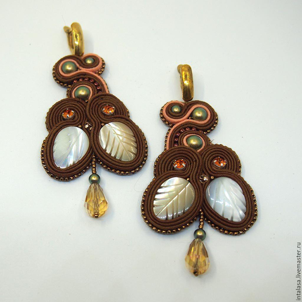 Soutache earrings `falling leaves`