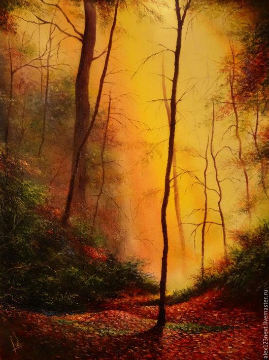 Пейзаж ручной работы. Ярмарка Мастеров - ручная работа. Купить Осенний листопад. Handmade. Рыжий, деревья, осень, холст