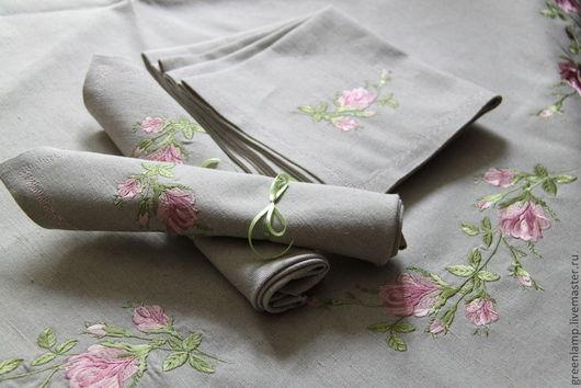 """Текстиль, ковры ручной работы. Ярмарка Мастеров - ручная работа. Купить скатерть и салфетки с вышивкой """"Винтажная роза"""". Handmade."""