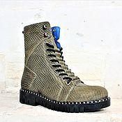 Ботинки ручной работы. Ярмарка Мастеров - ручная работа Осень-зима. Ботинки хаки рептилия. Handmade.