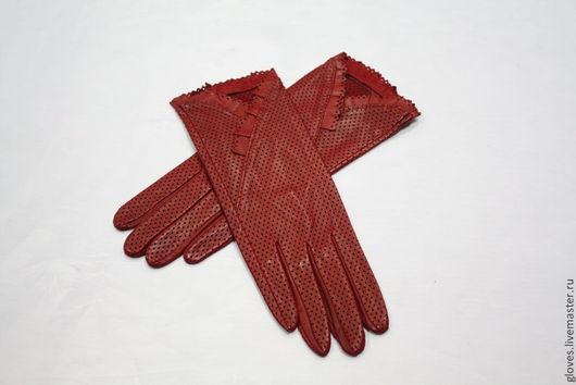 Варежки, митенки, перчатки ручной работы. Ярмарка Мастеров - ручная работа. Купить Перчатки женские перфорированые без подкладки с рюшей. Handmade.