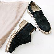 Обувь ручной работы handmade. Livemaster - original item Shoes with zipper black nubuck beige sole. Handmade.