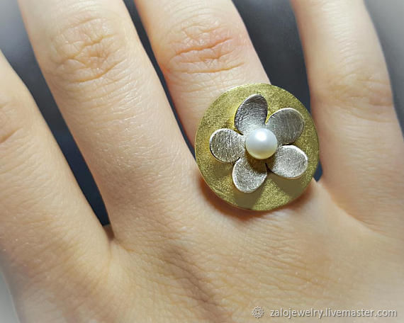 Nature Inspired Ring, Daisy Ring, Flower Ring Silver, Boho Flower Ring, Rings, Athens,  Фото №1