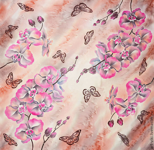 """Шали, палантины ручной работы. Ярмарка Мастеров - ручная работа. Купить Платок атласный """"Орхидеи"""" батик 100% шелк. Handmade."""