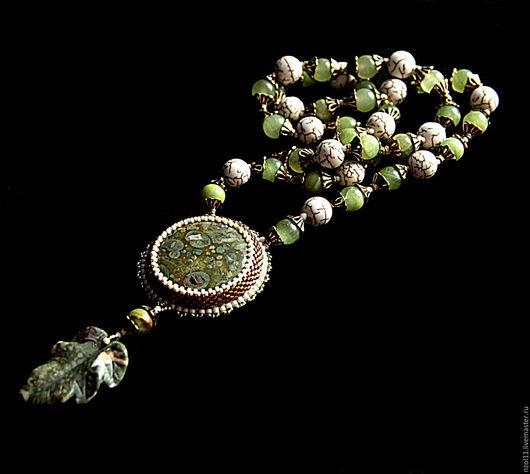 Кулоны, подвески ручной работы. Ярмарка Мастеров - ручная работа. Купить Кулон с риолитом. Handmade. Оливковый, лист, риолит