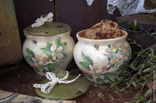 """Кухня ручной работы. Ярмарка Мастеров - ручная работа. Купить """"Яблоневый цвет"""" набор глиняных горшочков. Handmade. Оливковый, дача"""